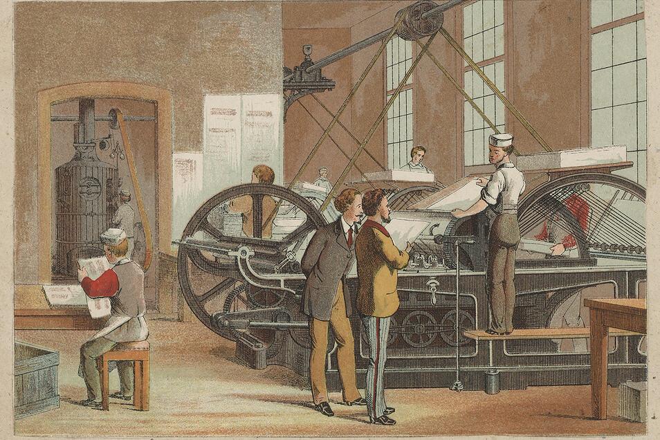 Dampfbetriebene Schnellpresse mit Bogenmagazin. Kolorierte Lithografie um 1865