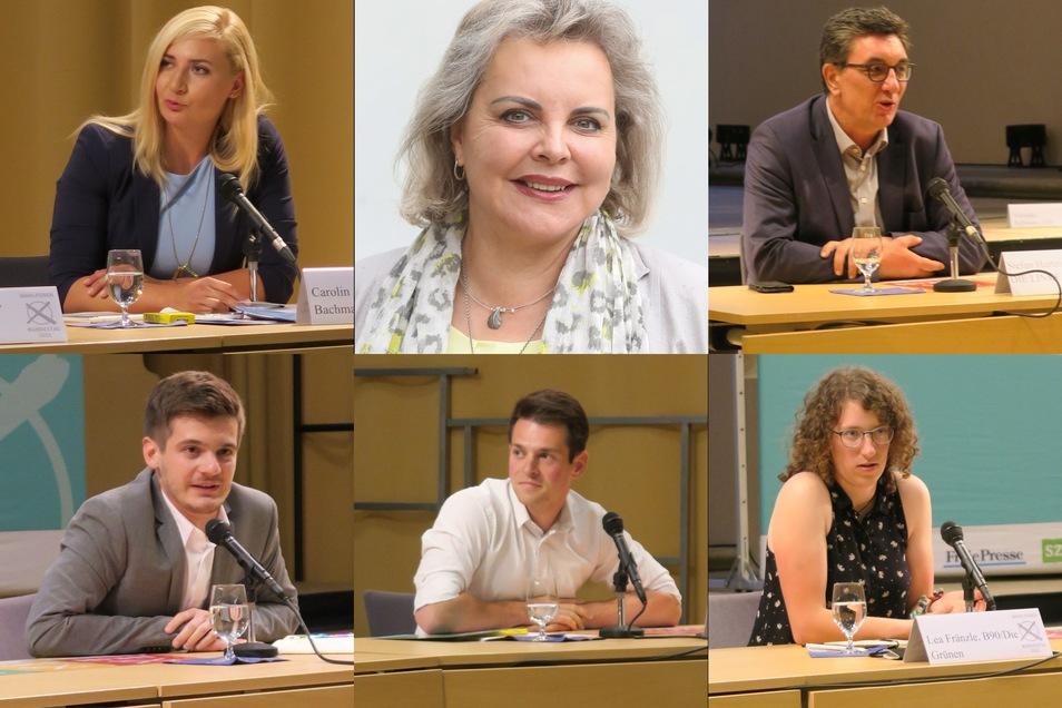 Bei einem Wahlforum in Freiberg diskutierten sechs Bundestagskandidaten aus Mittelsachsen miteinander. Veronika Bellmann (CDU) wurde per Video zugeschaltet.