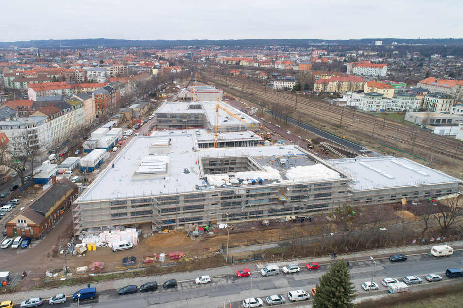 Die Baustelle für den Schulcampus Pieschen an der  Gehestraße.