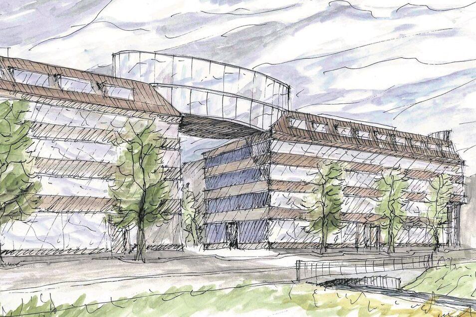 So stellt sich die Stadt den Nachfolge-Bau für die Lederfabrik vor. Noch existiert das Vorhaben nur auf dem Papier.