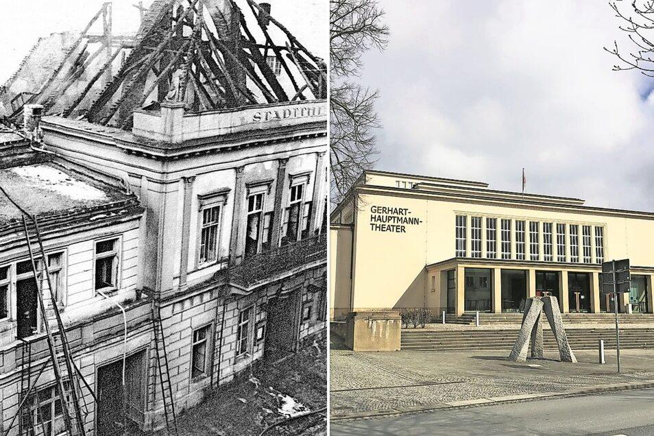 """Nur noch eine Ruine war das Theater auf der Zittauer Neustadt nach dem Brand im März 1932. Bereits vier Jahre später war der Neubau fertig, damals noch unter dem Namen """"Grendlandtheater""""."""