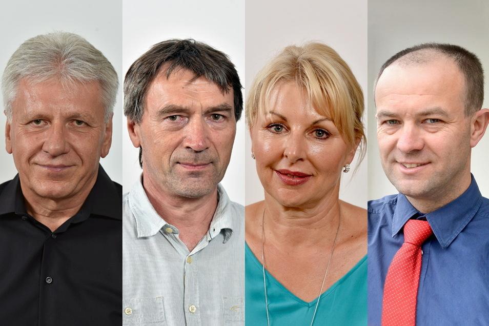 Hans-Jörg Czwink (v.l.) und Klaus Walter sitzen der Fraktion Unabhängige Bürger vor. Kathrin Fröhlich und Falk Kühn-Meisegeier den Freien Wählern.