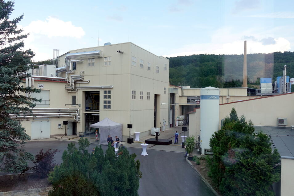 Chemiewerk in Pirna-Neundorf mit neuer P-1-Anlage: Die Ausbaumöglichkeiten auf dem Gelände sind eher begrenzt.