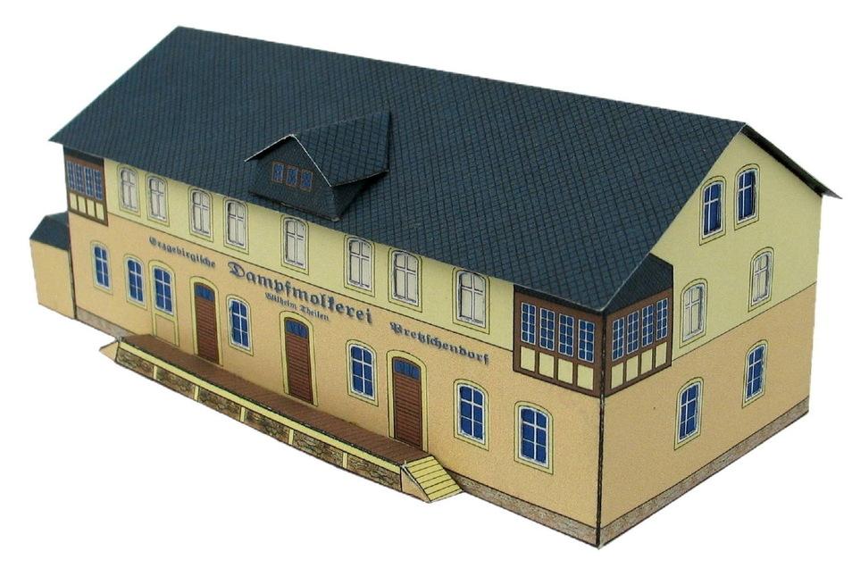 So sieht das Modell der ehemaligen Molkerei in Pretzschendorf aus, das die Grundschule Pretzschendorf entwickelt hat.