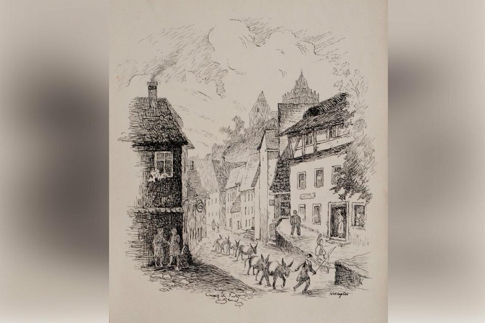 """Wie Esel-Leisnig zu diesem Beinamen gekommen ist, hat Heimatmaler Karl Wagler in dieser Zeichnung aussagekräftig """"erklärt""""."""