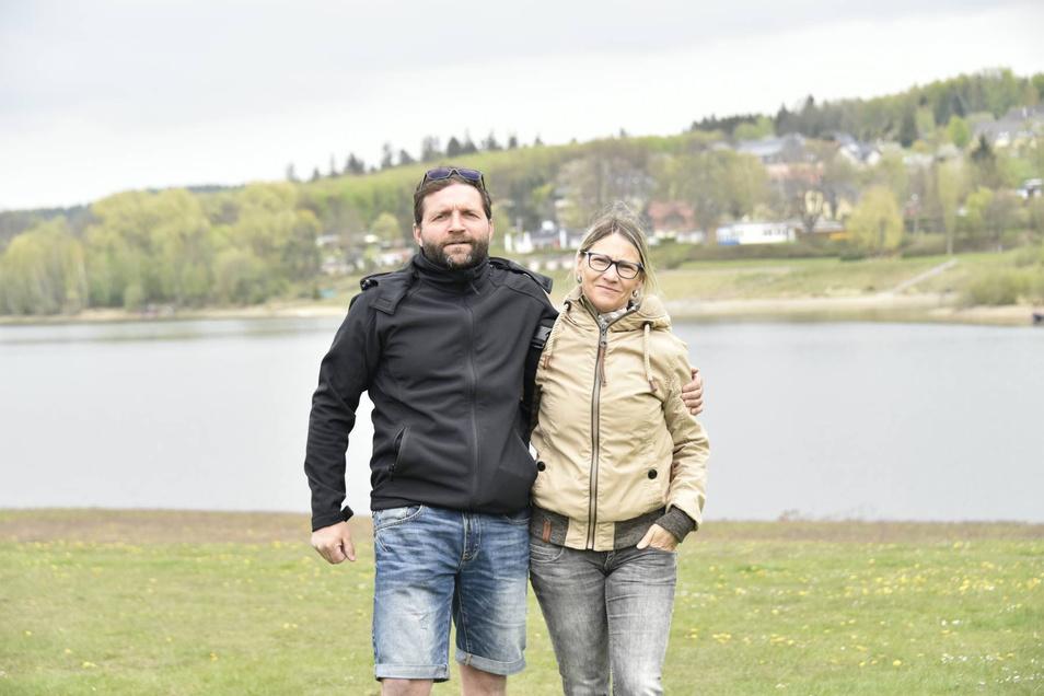 Jan und Nancy Flechsig kamen aus Brand-Erbisdorf, um einen Spaziergang an der Malter zu machen.