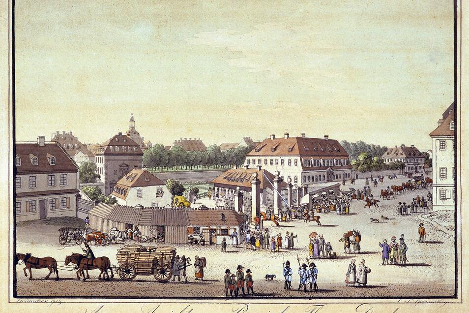 Auf diesem kolorierten Kupferstich von Samuel Gränicher (1758-1813) und Christian Friedrich Sprinck (1769-1831) ist das Pirnaische Tor zu sehen. Dort wurde Casanova 1788 festgenommen.