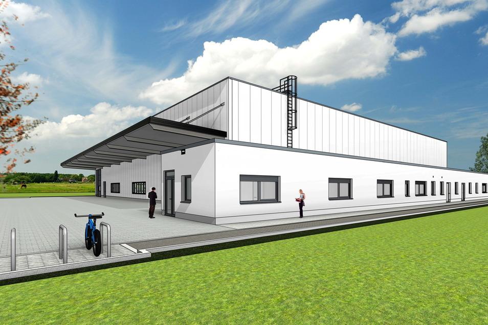 """Neue Halle mit Büroanbau: So soll die künftige Produktionsstätte von Palosa im Gewerbepark """"An der Elbe"""" in Pirna einmal aussehen."""