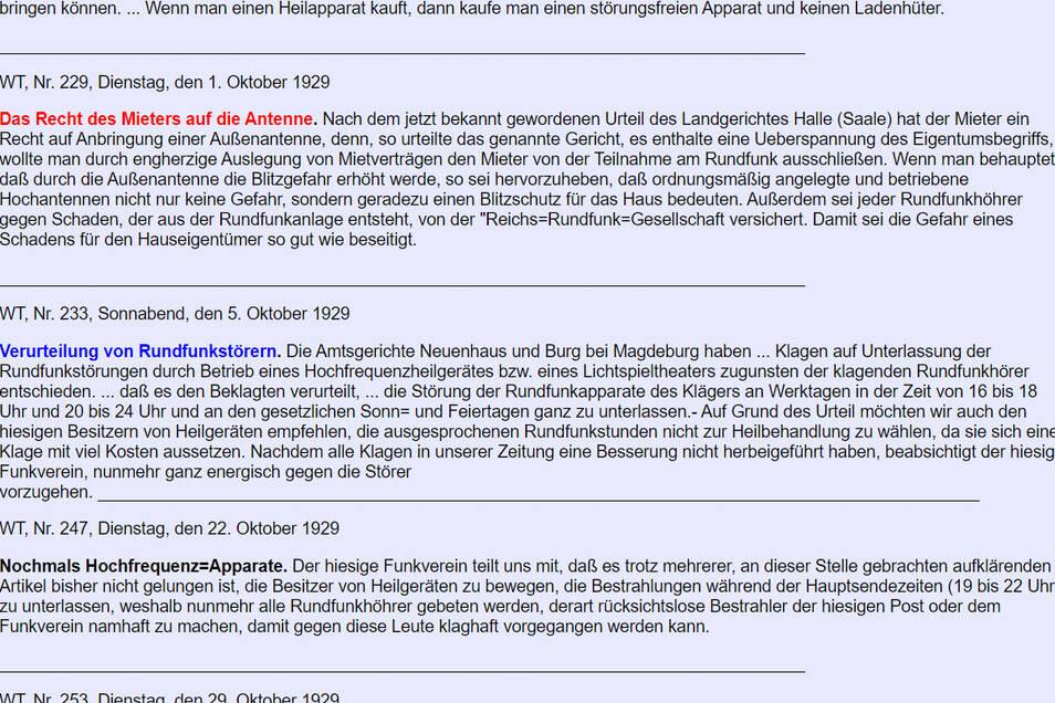 Mit Hilfe von Wolfgang Lill, der als ehrenamtlicher Redakteur für das Internetportal radiomuseum.org arbeitet, hat Jürgen Juhrig die Geschichte der Wilsdruffer Funkvereins auf der Homepage von radiomuseum.org veröffentlicht.