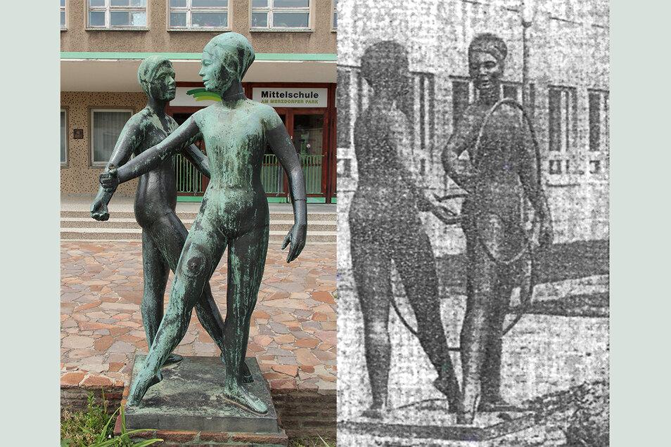 """So sahen die """"Reifenspielenden Mädchen"""" vor der Schule am Merzdorfer Park zuletzt aus (li.) - und so 1964, bei der Eröffnung der Schule."""