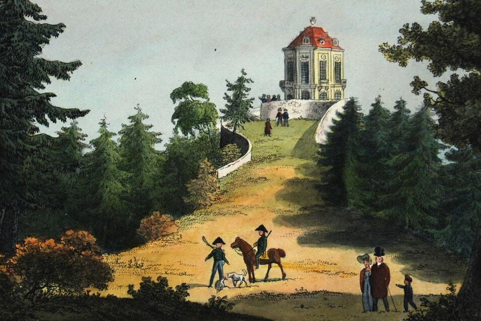 So sah das Schlösschen als Aussichtspunkt und Herberge für die Jagdgesellschaften zu Zeiten von Friedrich August III. aus, einem Enkel von August dem Starken, der das Gebäude errichten ließ.