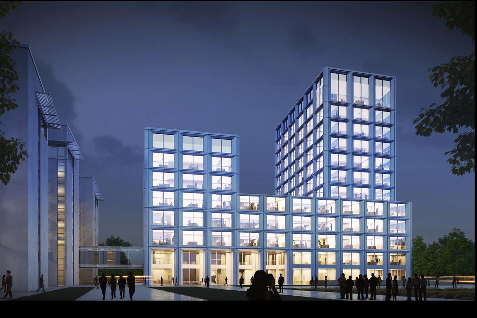 In diesem Neubau soll auch die Zentrale der SachsenEnergie ein.