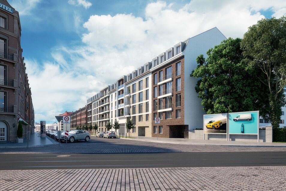 So wird die Friedensstraße voraussichtlich 2021 aussehen. Über 100 neue Wohnungen werden gebaut.