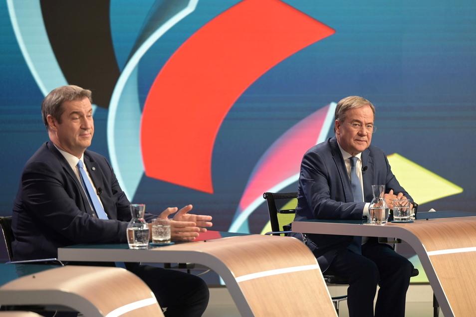 Markus Söder (links) fand am Abend doch noch freundliche Worte für Armin Laschet.