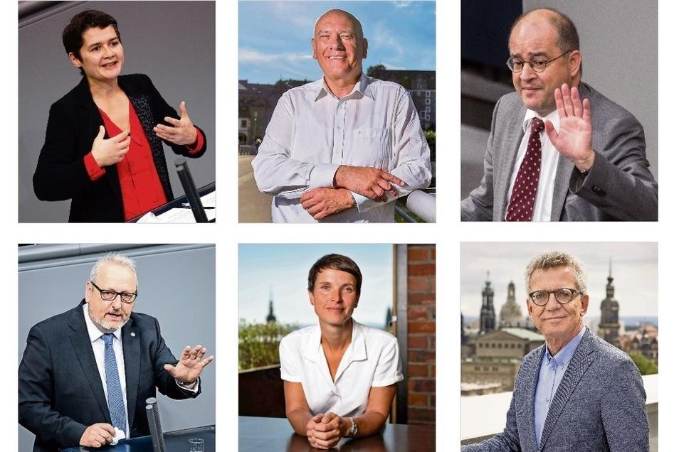 Sie gehören sicher nicht mehr dem nächsten Bundestag an (v.l.n.r.): Daniela Kolbe (SPD), Thomas Jurk (SPD), Arnold Vaatz (CDU), Jürgen Martens (FDP), Frauke Petry (fraktionslos), Thomas de Maiziere (CDU).