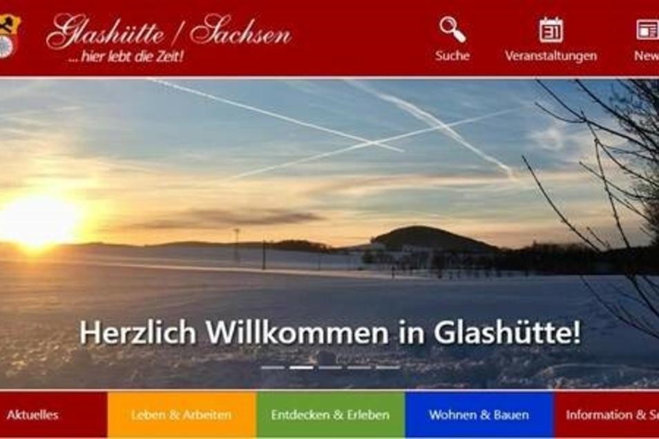 So wird Glashüttes neue Webpräsenz ab Februar aussehen.