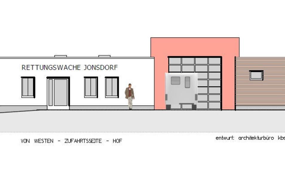 So soll die neue Rettungswache in Jonsdorf auf der Westseite aussehen.