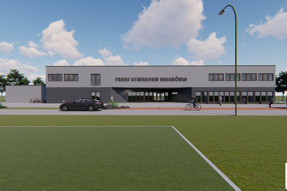 Ehe die Visualisierung des Freien Gymnasiums Weinböhla Wirklichkeit wird, werden noch einige Jahre ins Land gehen - ein Interim startet am 1. August 2021.