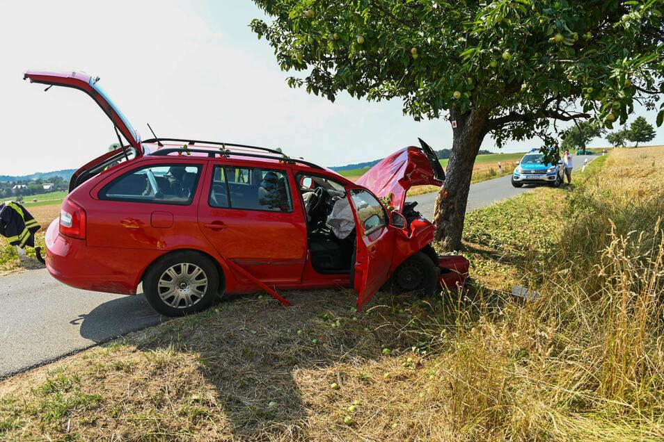 In dem Skoda Octavia haben die 28-jährige Fahrerin sowie zwei Jungen im Alter von zwölf und zwei Jahren gesessen.