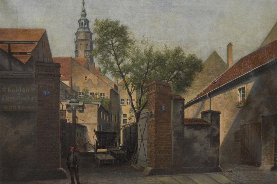 Das ist das Gemälde von Moritz Werner, das den Görlitzer Malerwinkel um 1914 zeigt.