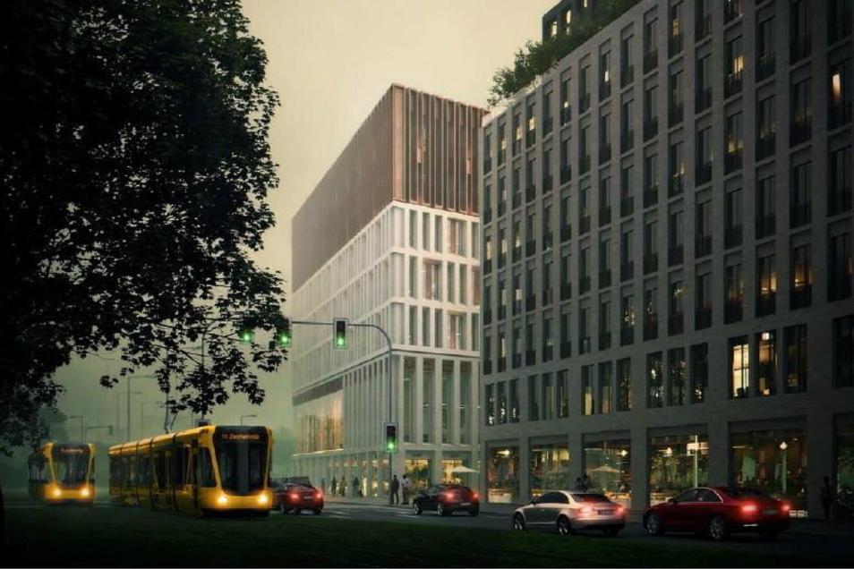 Entwurf Nummer 1: Blick von der Haltestelle Prager Straße auf das Verwaltungszentrum