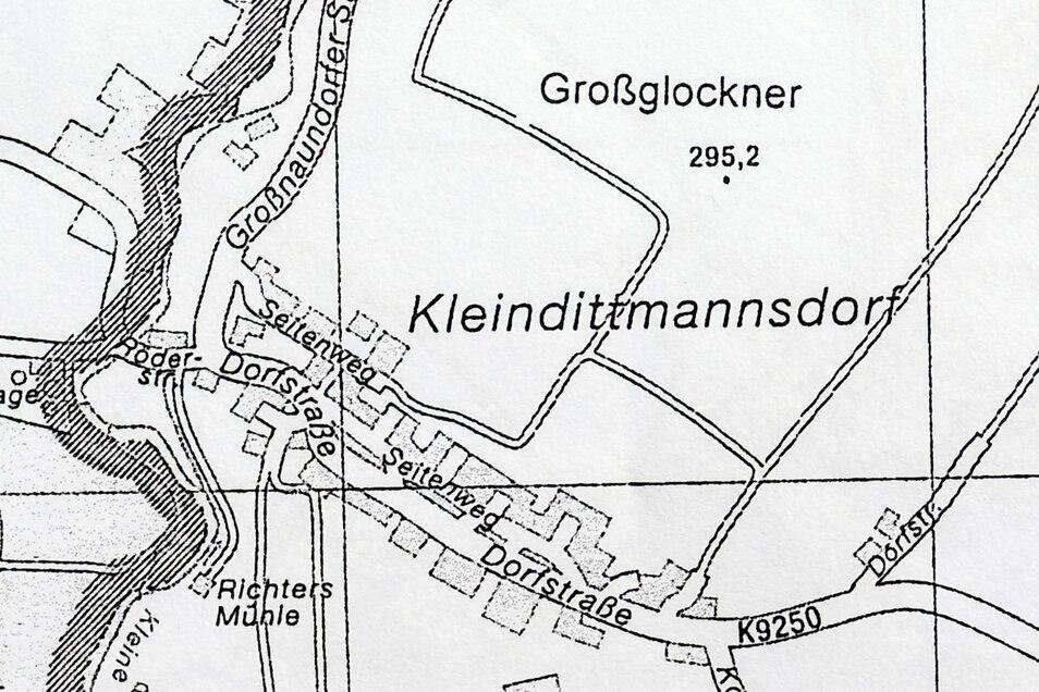 Auch in Kleindittmannsdorf gibt es einen Berg mit dem Namen Großglockner, was diese Karte belegt.