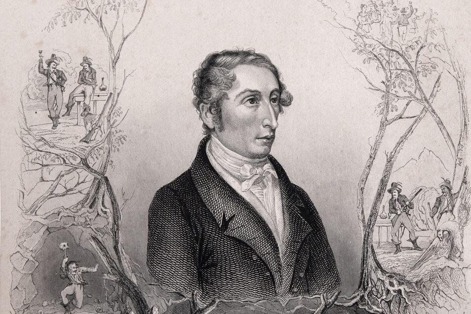 """Weber wurde nach dem Erfolg geehrt und und verklärt - hier umkränzt mit Motiven aus dem """"Freischütz""""."""