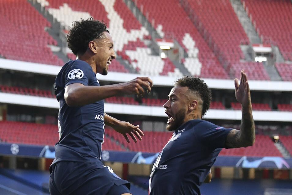 Pariser Freude: Der erste PSG-Torschütze Marquinhos (links) feiert mit Superstar Neymar.