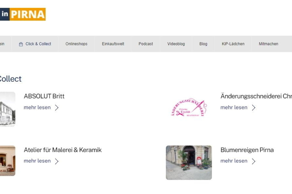 Vorbildlich: In Pirna kann man einer Internetseite entnehmen, welche Innenstadtläden Click & Collect anbieten.