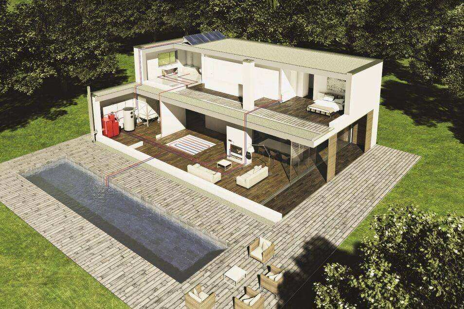 Durch das Heizen mit Sonne und Holz kann das komplette Haus mit Wärme versorgt werden.