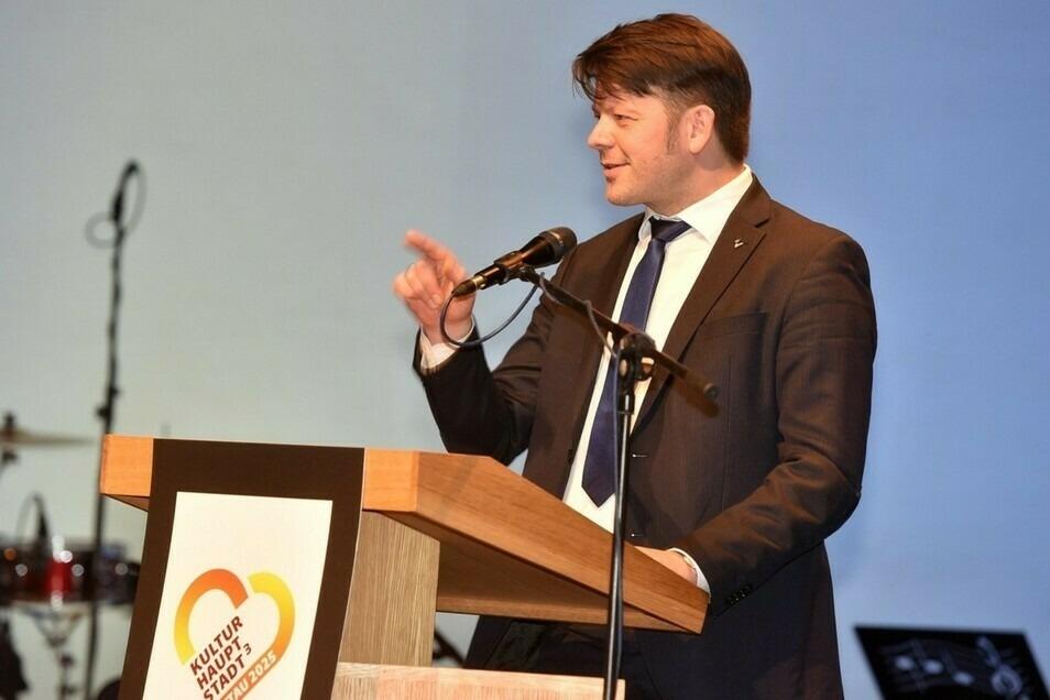 Zittaus Oberbürgermeister Thomas Zenker bei seiner Ansprache voriges Jahr.