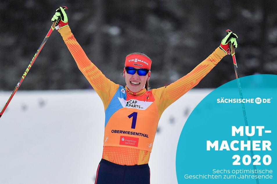 Nach dem Skispringen und dem Fünf-Kilometer-Langlauf hat Jenny Nowak es geschafft: Sie ist Junioren-Weltmeisterin in der Nordischen Kombination.
