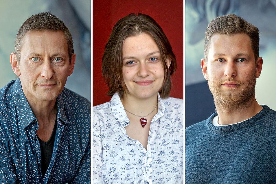 Frank Schilcher (l.), Sarah Ziesch und Niklas Krajewski verstärken das Ensemble des Deutsch-Sorbischen Volkstheaters Bautzen.