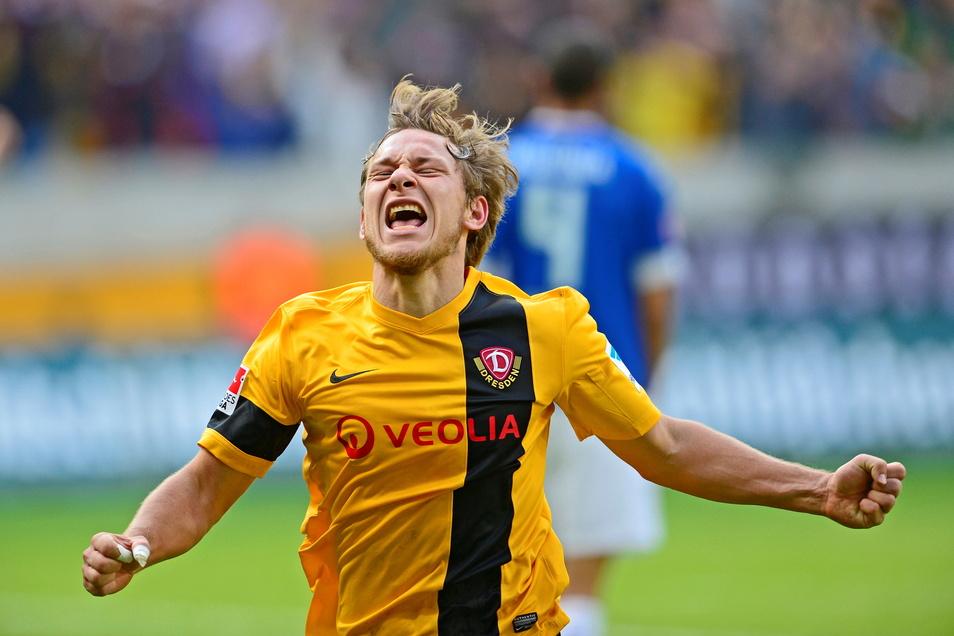 So herrlich emotional hat Robert Koch bei Dynamo gejubelt. Für die Schwarz-Gelben hat der gebürtige Löbauer in 134 Pflichtspielen 26 Treffer erzielt.
