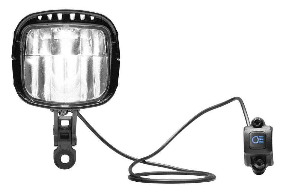 Der E-Bike-Scheinwerfer IQ-XL leuchtet mit 250 Lux und hat integriertes Fernlicht. Preis: ca. 300 Euro.