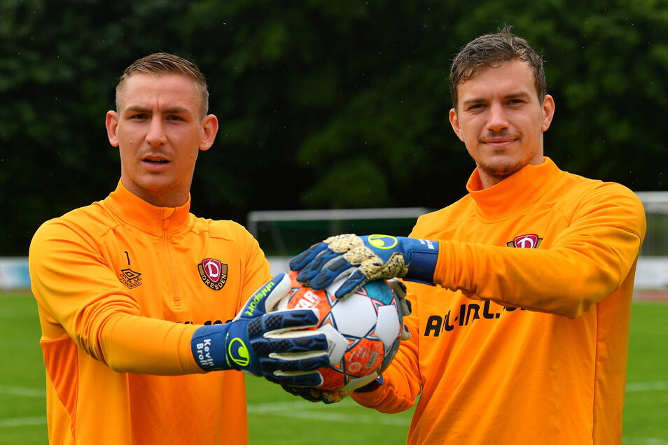 """""""Konkurrenz belebt das Geschäft"""", sagt Kevin Broll, Dynamos Nummer eins. Mit Anton Mitryushkin (rechts) hat er jetzt einen neuen Herausforderer."""