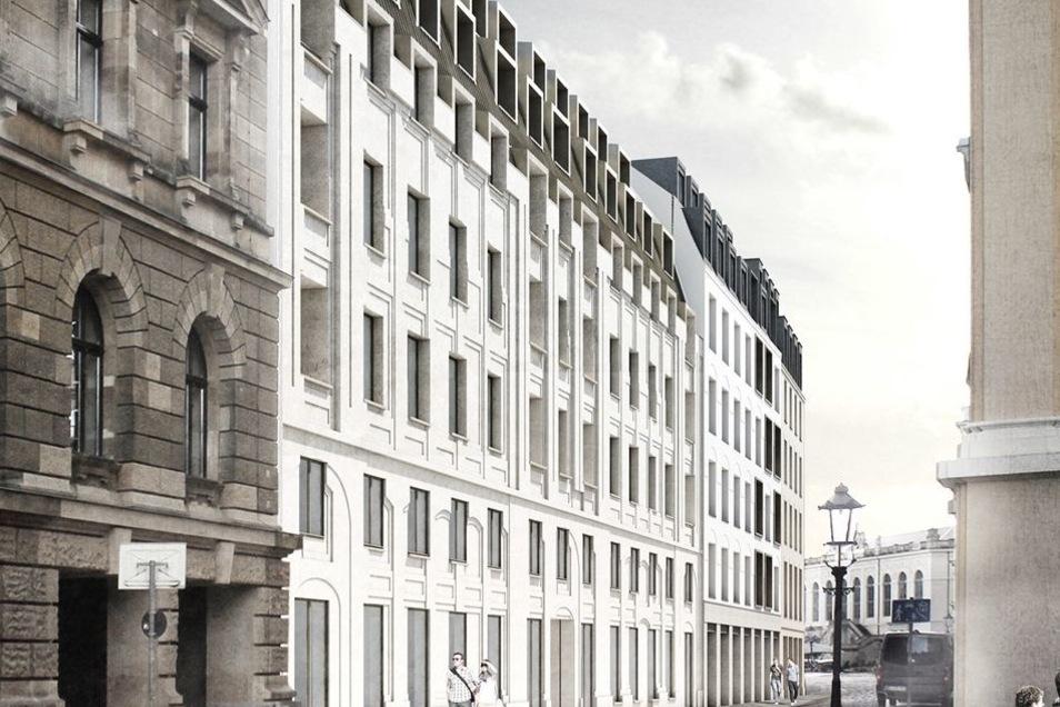 Platz 2: Den Versuch, unter der modernen Fassade die historische Gestaltung im Putz anzudeuten, unternahmen die Bruno Fioretti Marquez Architekten. Doch zum Sieg fehlte der Jury die Tiefenwirkung.