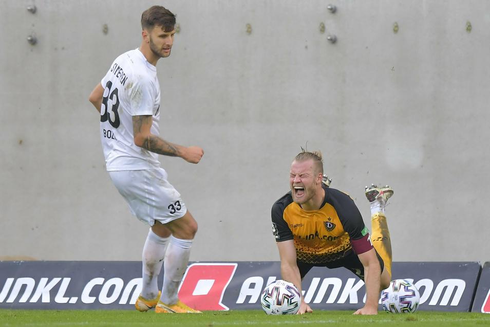 Das tut weh: Meppens Dejan Bozic foult Dynamos Kapitän Sebastian Mai. Das Heimspiel haben die Dresdner mit 3:0 gewonnen, doch danach gab es in Saabrücken bereits die vierte Saison-Niederlage im neunten Spiel.