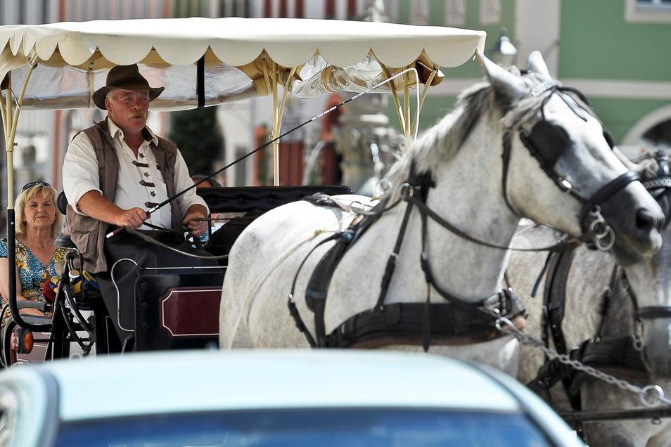 Christian Mähl aus Kodersdorf fuhr als Kutscher Touristen durch Görlitz. Jetzt ist er arbeitslos, denn solche Stadtrundfahrten gibt es nicht mehr.