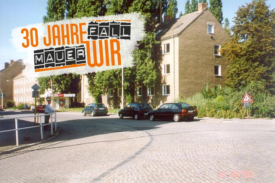 So sah die Kirchstraße Anfang der 1990er-Jahre aus. Hier gab es den ersten Abriss von Wohnblöcken.