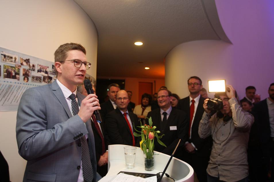 Damals noch Landtagsabgeordneter: Oliver Wehner beim Neujahrsempfang 2019 in Heidenau.