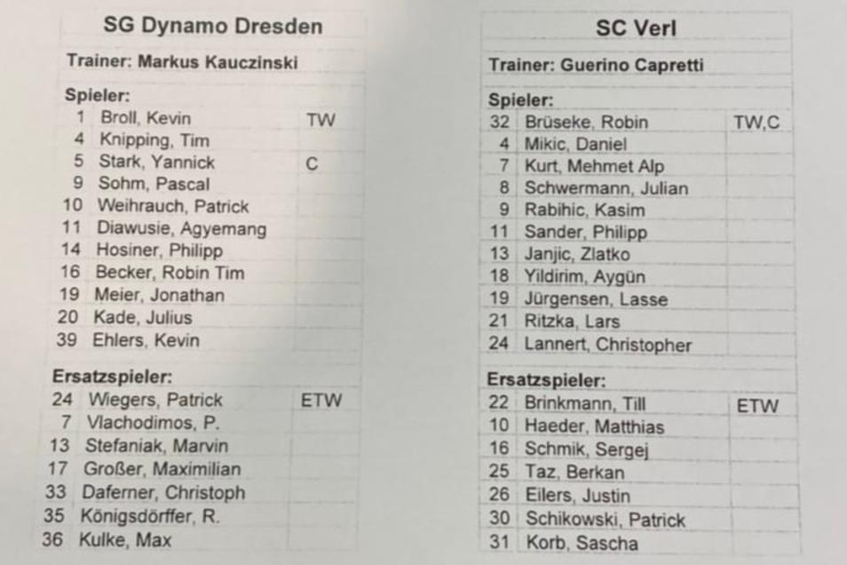 Dynamos Aufstellung gegen Verl - mit drei Veränderungen. Agyemang Diawusie, Patrick Weihrauch und Philipp Hosiner sind neu in der Anfangself.