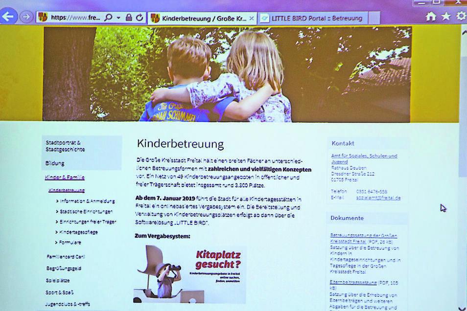 ... und so funktioniert es: 1. Unter www.freital.de/kinderbetreuung gibt es alle Informationen zur Kita-Anmeldung, den Gebühren und den Link zum Anmeldeportal Little Bird. (Repros: Andreas Weihs)