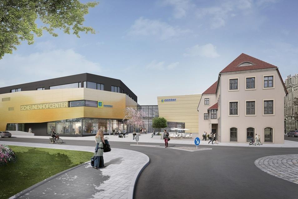 So soll das fertige Center am Dohnaischen Platz aussehen, rechts der alte Scheunenhof.