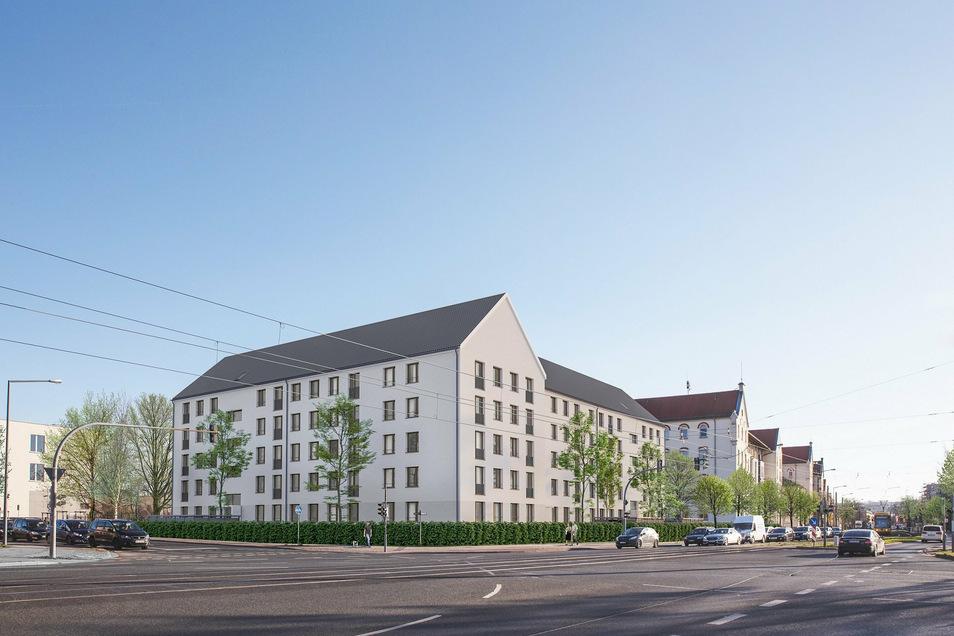 An der Ecke von Fröbel- und Löbtauer Straße wird derzeit die Baugrube ausgehoben. Hier entstehen insgesamt 62 Wohnungen.