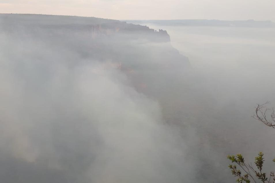 Rauch vom Wald im Naturpark Chapada dos Guimaraes.