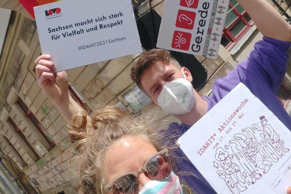 Sarah Benkhardt und Alexander Bahr sind Mitarbeiter im Gerede e.V. - Verein für sexuelle und geschlechtliche Vielfalt in der Dresdner Neustadt..