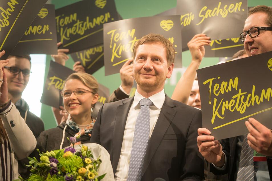 Der Landesvorsitzende der sächsischen CDU und sächsische Ministerpräsident, Michael Kretschmer (M.), am 19. Januar 2019 auf der Landesvertreterversammlung seiner Partei in Dresden.