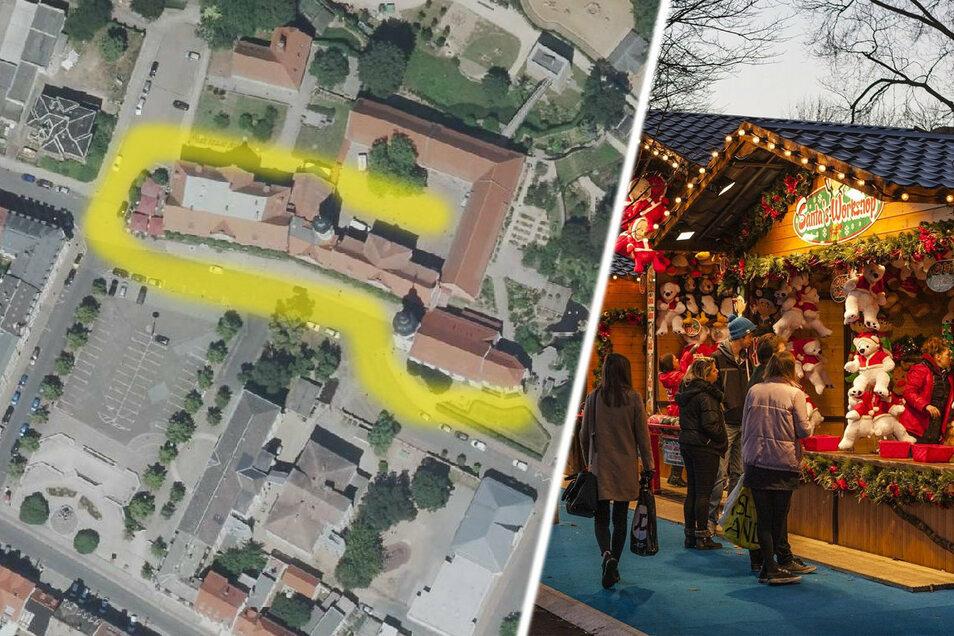 In etwa so wie auf diesem Luftbild dargestellt soll sich der diesjährige Riesaer Weihnachtsmarkt dieses Jahr um das Riesaer Rathaus schlängeln.