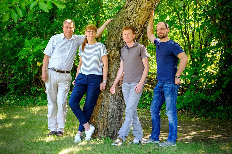 Die Meißner Direktkandidaten von Bündnis 90/Die Grünen zur Landtagswahl (v.l.): Tobias Plessing, Katja Meier, Thomas Berndt und Martin Wengenmayr.